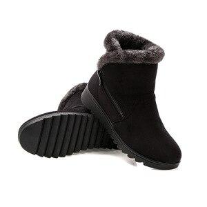 Image 5 - בתוספת גודל נשים מגפי שלג חם קטיפה רך תחתון חורף נעלי אישה קרסול מגפי צאן אמהות כותנה נעלי Botas Mujer SH09093
