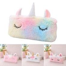 Cute pencil case unicorn Plush kawaii estuche para lpices for girls trousse astuccio canvas scolaire school cartuchera lapices