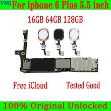 のためのiphone 6プラスマザーボードオリジナルロック解除メインボード16グラム64グラム128グラムのためのiphone 6プラスロジックボード/なしタッチidプレート