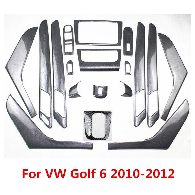 5D Carbon Fiber Printed Car Center Console Cover Handle Sticker Gear Panel Moulding Trim For Volkswagen Golf 6 2010 2011 2012