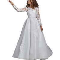 Long Sleeve White First Communion Dress Lace Flower Girl Dress Long Kids Ball Gown Little Girls Wedding Party Comunion Dress
