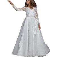 Long Sleeve White First Communion Dress Lace Flower Girl Dress Long Kids Ball Gown Little Girls Wedding Party Comunion Dress