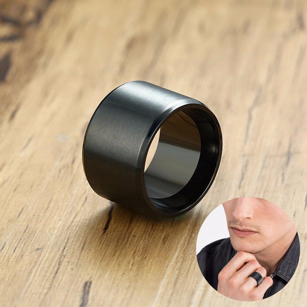 Мужское кольцо из нержавеющей стали, черное кольцо с очень широкой трубкой 15 мм, массивное кольцо для сигар, ювелирные изделия для мужчин, ак...