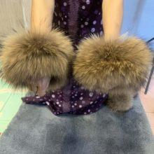 Real pele de guaxinim manguito de pele de raposa manguito de pele manga de pele pat i círculo botas de cabelo