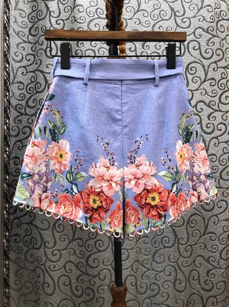 2020 Summer Fashion High Quality Linen Women Charming Flower Print Ring Deco Belted Casual Blue Shorts Pants Clothing 1