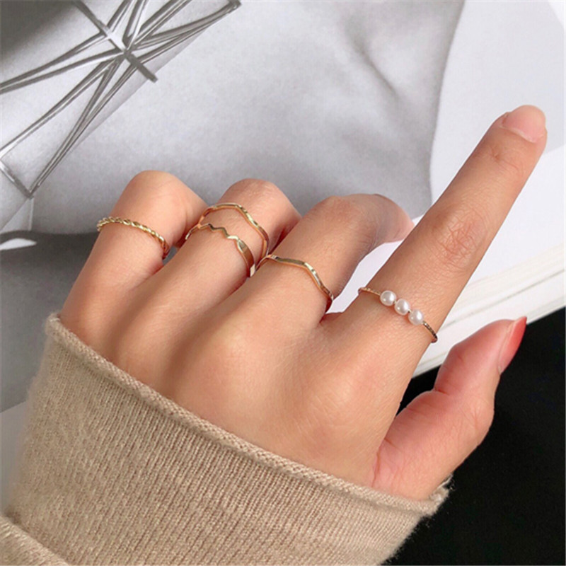 5 Pcs Fashion Rings Set for Women Jewelry Gold Round Pearl Simplicity Minimalist Style Personality Geometric Ring Wedding Party(China)