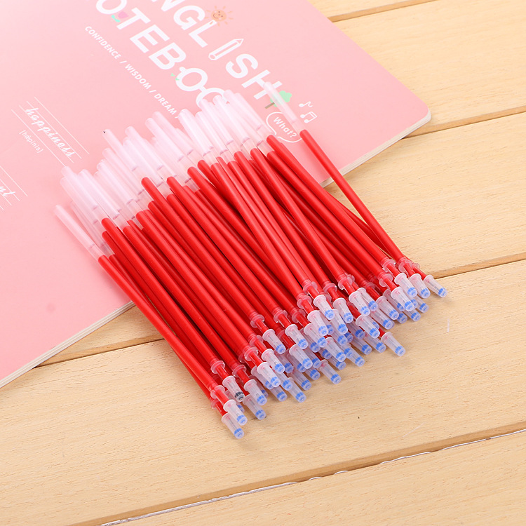 50pcs 2019 new 0 5mm needle head refill gel pen black red blue ink writing smooth