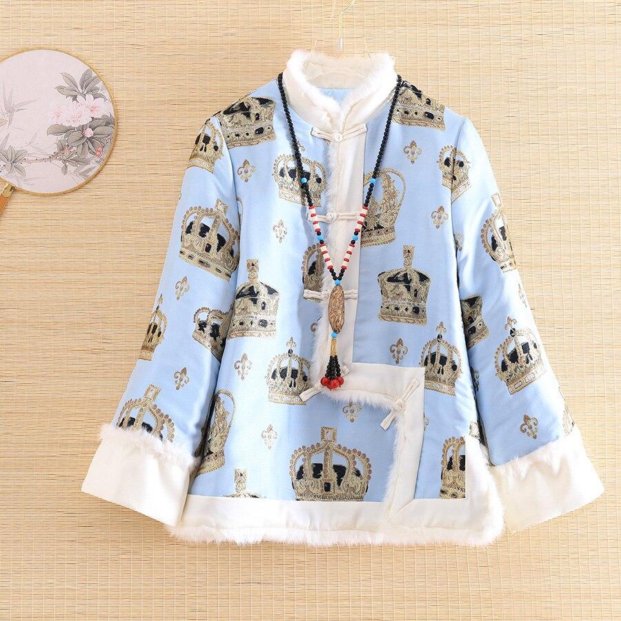 Automne veste pour femmes Vintage mandarine col épissure laine élégante dame haut ample court Jacquard couronne survêtement femme S-XXL