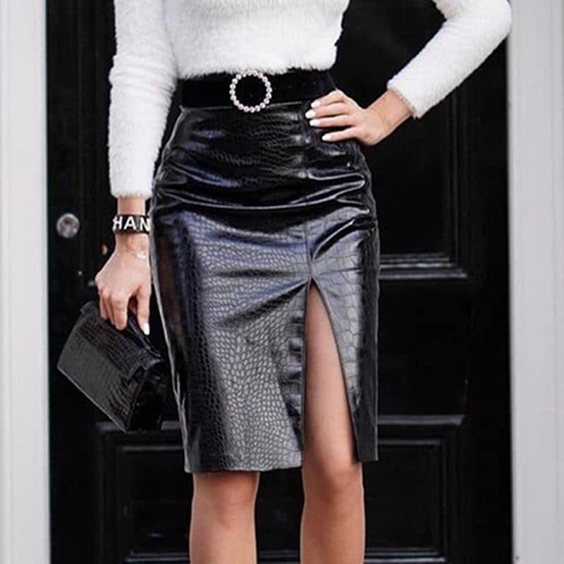 Shiny Faux Crocodile Leather Slit Midi Skirts Women High Waist PU Pencil Skirts Back Zipper Ladies PU Crocodile Pattern Skirts