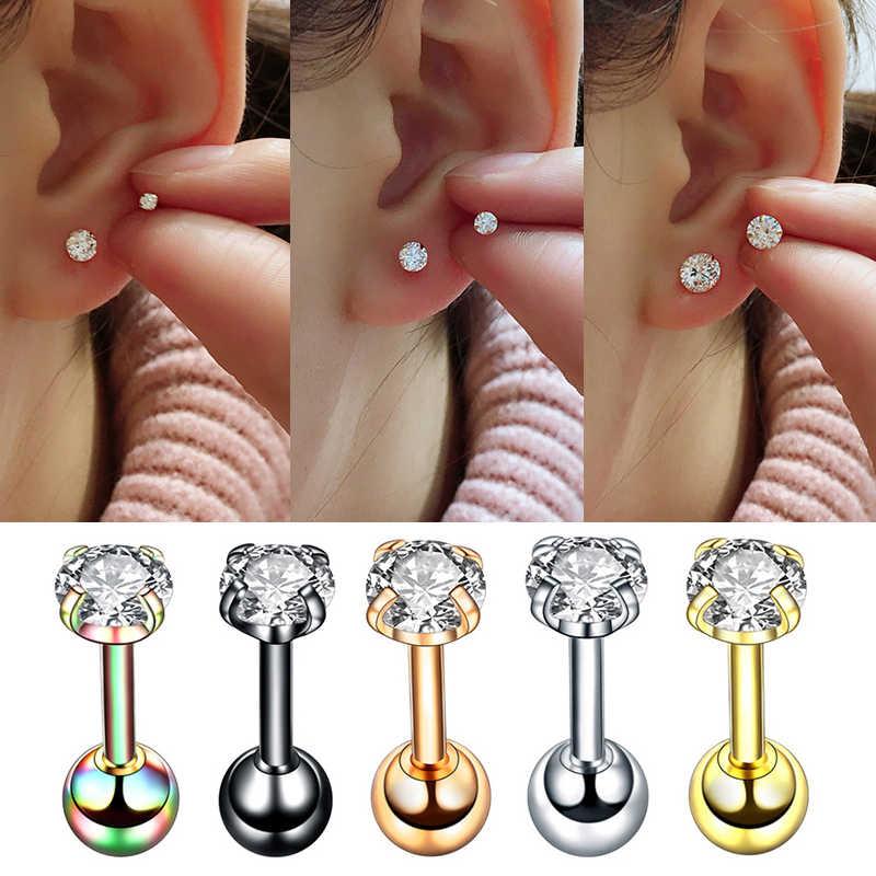 1Pair Stainless Steel Stud Earrings Zircon Crystal Cartilage Piercing Jewelry