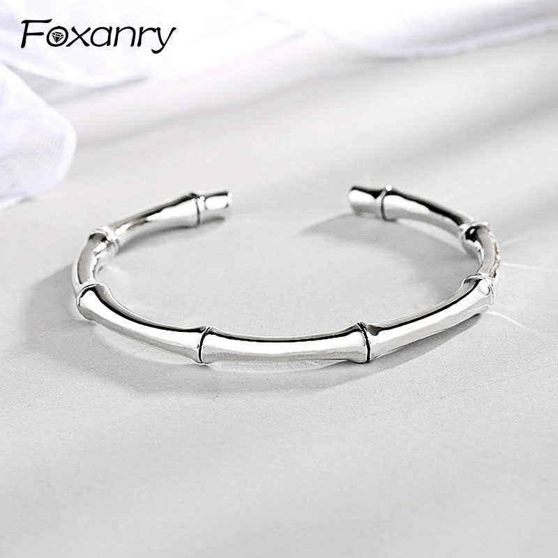 Foxanry 925 Sterling Silver Vintage Bamboo Bangles&Bracelet Terndy Smooth Party Bracelet Jewelry for Women Size 55mm Adjustable