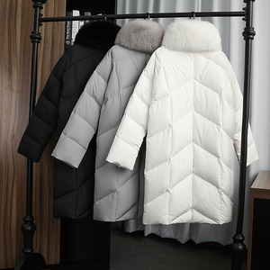Image 5 - FTLZZ גדול אמיתי טבעי שועל פרווה צווארון לבן ברווז למטה מעיל חורף נשים מעיל למטה ארוך מעיילי נקבה עבה שלג הלבשה עליונה
