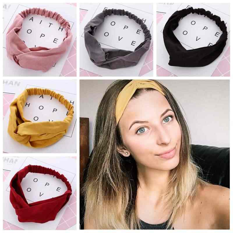 Women Summer Autumn Suede Headband Vintage Cross Knot Elastic Hair Bands Soft Solid Girls Hairband Hair Accessories