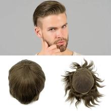かつら男性ナチュラルヘアラインフルスイスレースベースサイズ 8*10 インチメンズかつらヘアシステム在庫人間の remy 髪