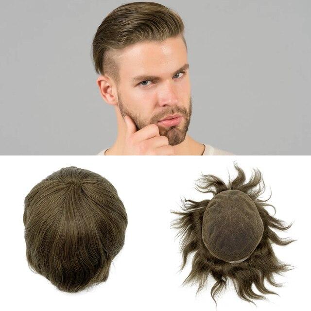 Pelucas para hombre de tupé, línea de pelo natural, encaje suizo completo, tamaño 8*10 pulgadas, sistema de cabello en stock, cabello humano remy