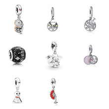 Original 925 Sterling Silver Beads Bun Tree Of Life Elephant Shape Pendant For Women Diy Pandora Charm Bracelet Necklace tree of life 925 sterling silver tree of life family tree charms beads fit bisaer charm bracelet diy beads 925 silver jewelry
