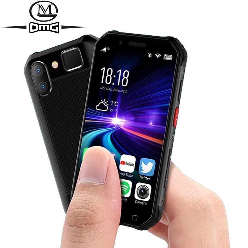 Mini telefone móvel à prova de choque pequeno nfc sos walkie talkie 3 gb + 32 gb 4g smartphone áspero android impressão digital face id celular