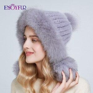Image 1 - ENJOYFUR Inverno chapéus de pele de vison real para as mulheres de pele de raposa pompom ouvido proteger as tampas quentes forrado de pele de malha gorros moda chapéu Russian