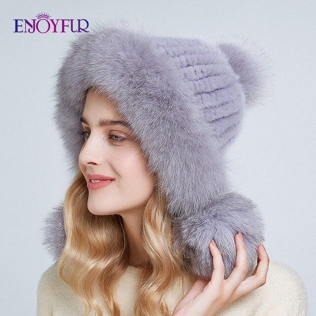 ENJOYFUR Inverno chapéus de pele de vison real para as mulheres de pele de raposa pompom ouvido proteger as tampas quentes forrado de pele de malha gorros moda chapéu Russian