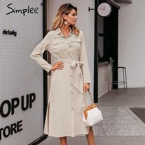 Image 3 - Simplee Streetwear ארוך המפלגה שמלת דש קשת loose כותנה מקסי שמלה אלגנטי משרד ליידי עבודה ללבוש סתיו חורף רטרו שמלה