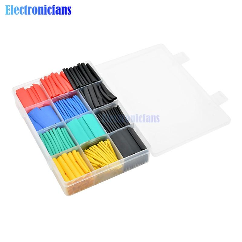 530pcs 560pcs 580pcs Set Heat Shrink Tube Kit Insulation Sleeving Polyolefin Shrinking Assorted Heat Shrink Tubing Wire Cable