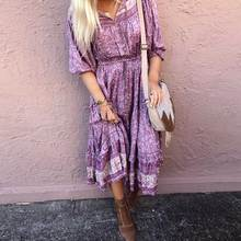 BOHO INSPIRED Mulberry floral long sleeve dress women V-neck boho cascading tiers new autumn female 2019 vestidos