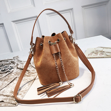 Suede Leathers Crossbody Bags For Women Tassel Handbags Drawstring Chain Women Shoulder Bags Solid Color Bucket Women's Bags New
