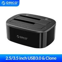 ORICO klon 2.5 3.5 İnç sabit disk yerleştirme İstasyonu USB3.0 1 ila 1 Clone çift yuvalı HDD ve SSD sabit disk-Siyah (6228US3-C)