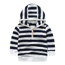 Spring Autumn Casual Children Newborn Boy Clothes Long Sleeve Hoodie Striped Printing Blouse