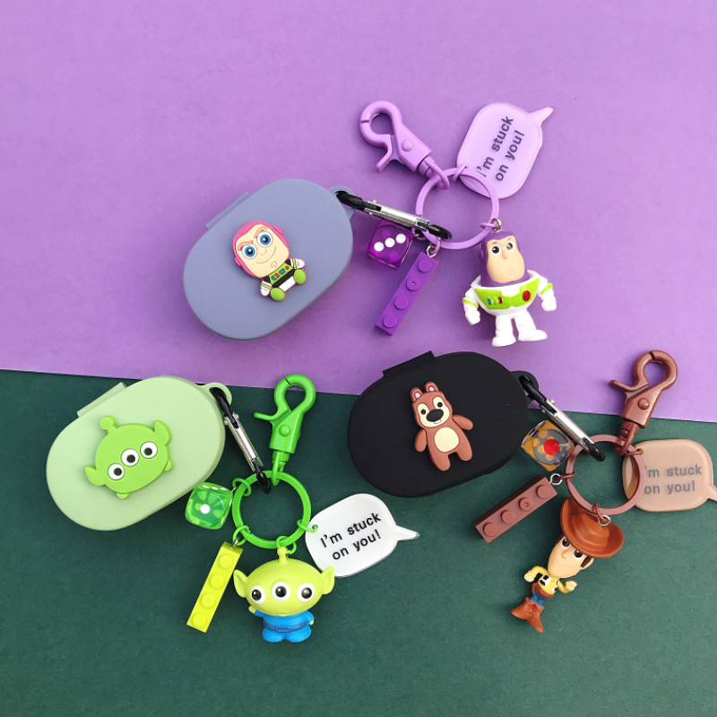 For Redmi AirDots Case Catroon Cute With Keychain Accessories Silicone Case For Xiaomi MI Air Wireless Earphone Cover Toy Story