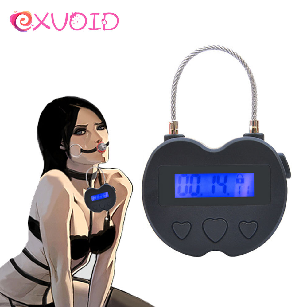 EXVOID Electronic Lock Handcuff Collar Timer SM Bondage Restraint Sex Toy For Couples Flirting Erotic Adult Products Sex Shop