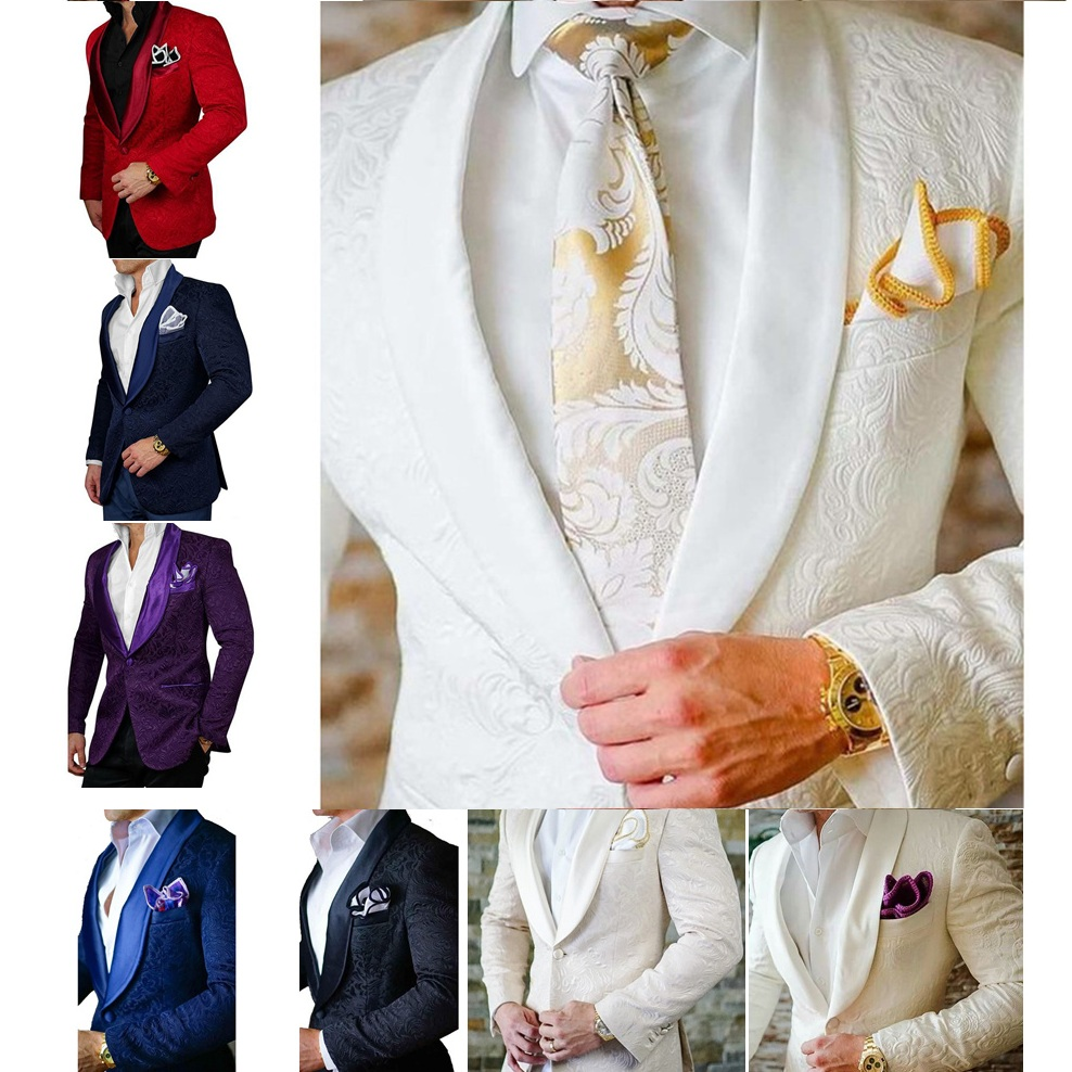 Formal Groom Tuxedos Men Suits Jacquard For Wedding Blazers Shawl Lapel Two Pieces Groomsmen Suits Costume Homme(Jacket+pant)