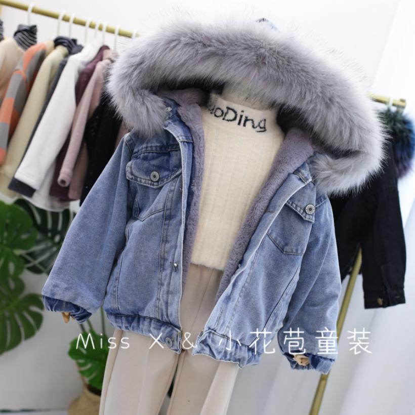 Wholesale 2019 winter girls denim thicker jackets Rabbit fur plus velvet coats toddler warm outerwear Modis kids Jacket Y2101