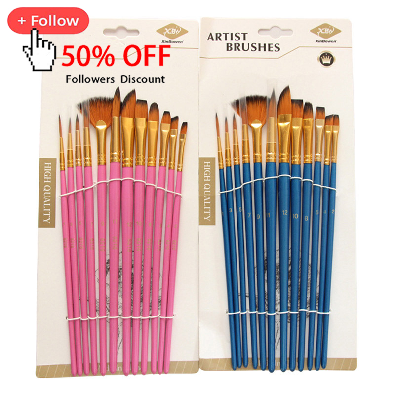 12Pcs Nylon Art Brushes Watercolor Painting Brush Variety Style Wooden Handle Oil Acrylic Painting Brush Pen Art Supplies