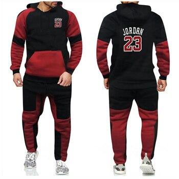 Nuevo chándal de moda cálido de terciopelo para hombre, conjunto de fundas de retazos deportivos 2, Sudadera con capucha, pantalones de Fitness, pantalones para correr, traje de Básquetbol