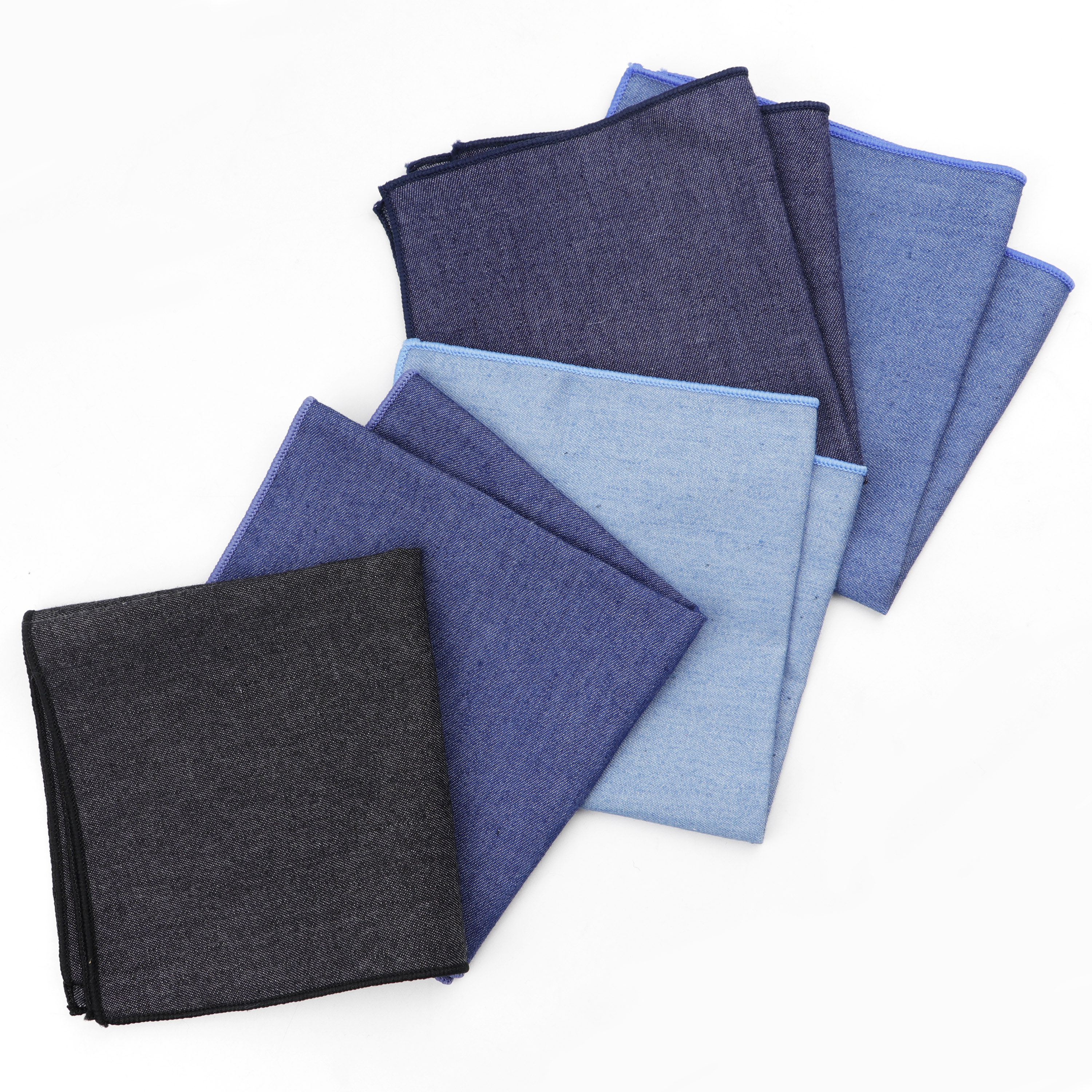 Solid Denim Cotton Handkerchiefs Woven White Black Red Blue Pocket Square Mens Casual Square Pockets Handkerchief Towels