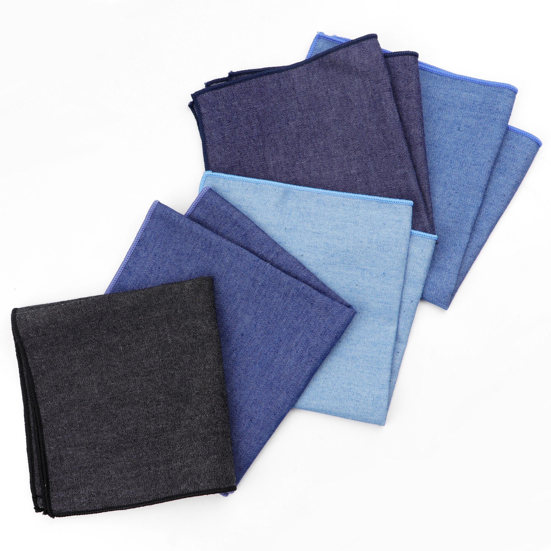 Solid Denim Cotton Handkerchiefs Woven White Black Red Blue Pocket Square Mens Casual Square Pockets Handkerchief Towels
