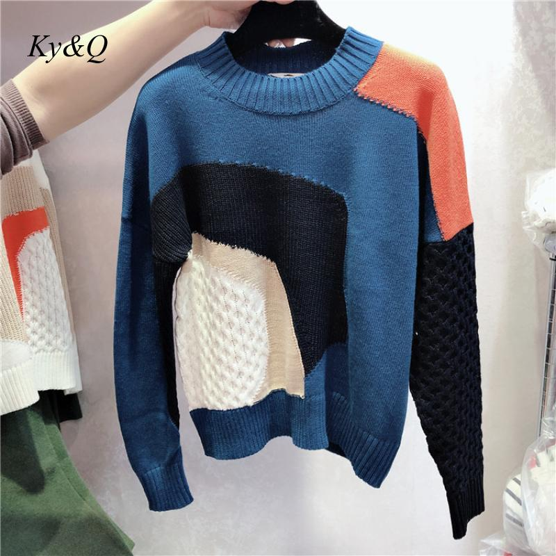 High Quality Brand Colorblock Fashion Women Winter Sweater Hit Color Stitching O-neck Loose Pullover Knit Clothes Jumper 2019