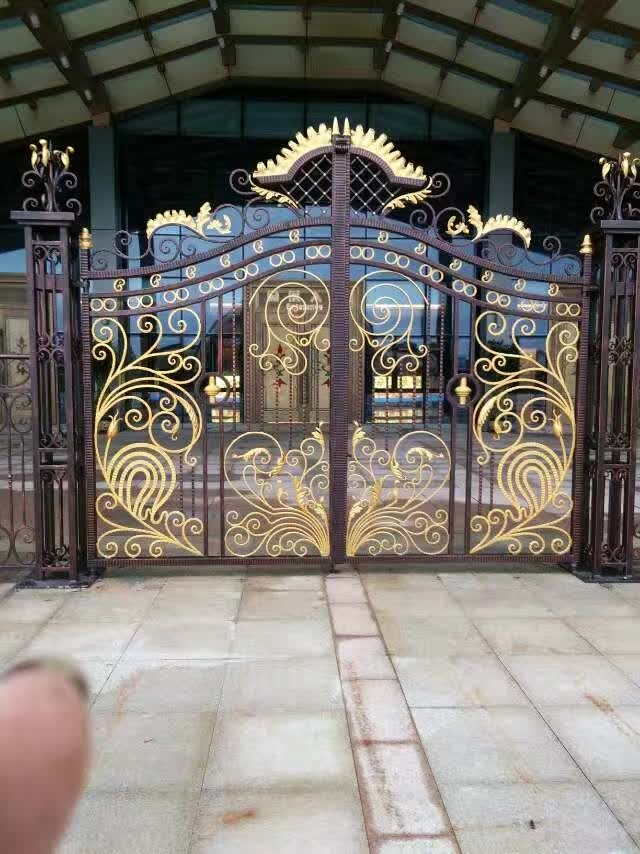 Hench Fancy Luxury Decorative Wrought Iron Gate Design Black Paint Colors
