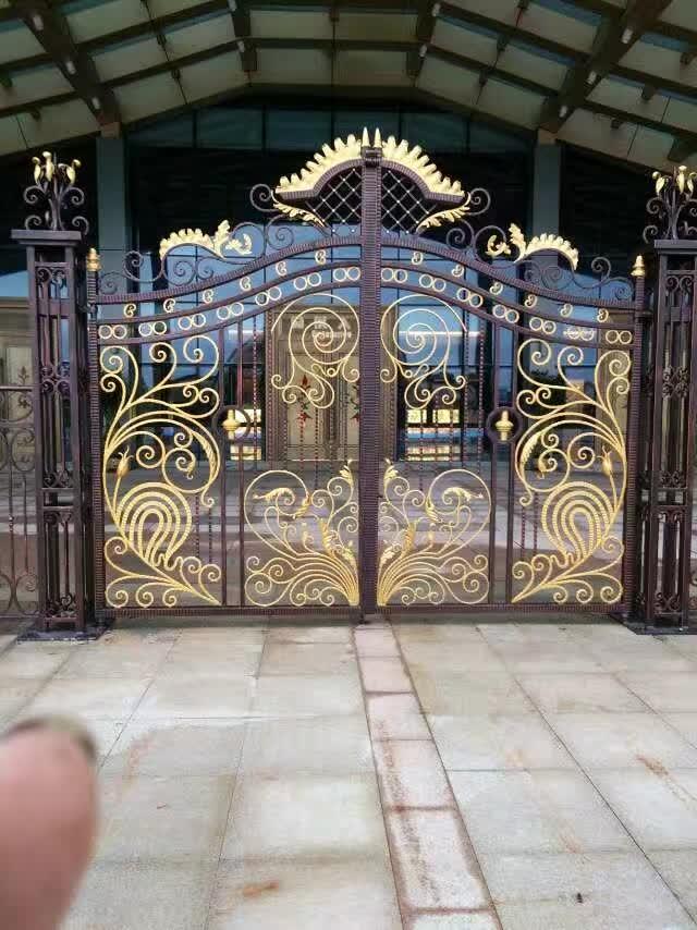 Hench Fancy Luxury Decorative Wrought Iron Gate Design Black Paint Colors