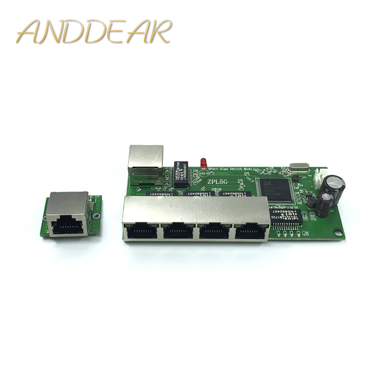 5-port Gigabit Switch Module Is Widely Used In LED Line 5 Port 10/100/1000 M PCBA Motherboard Contact Port Mini Switch Module
