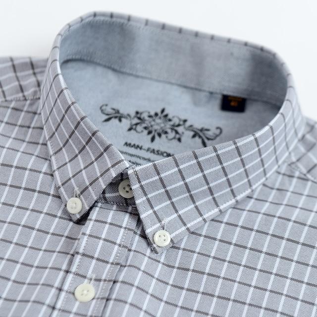 Men's Plaid Checked Oxford Button-down Shirt 3