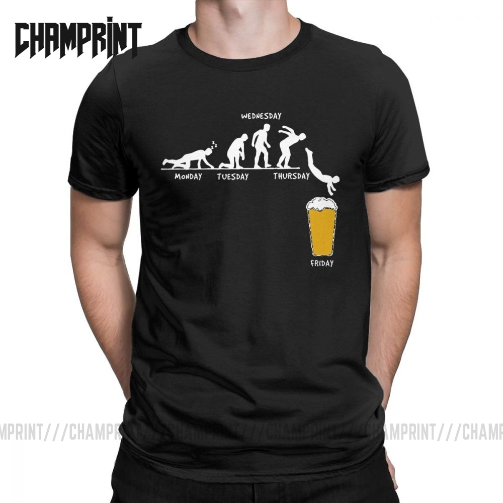 T-Shirts Tees Short-Sleeve Craft Beer Graphic Round-Collar Funny Humor Big-Size 100%Cotton