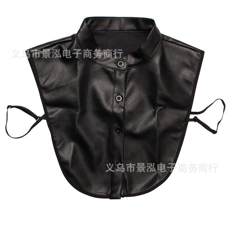 Black/white Yellow Hide Substance Pu Monochrome False Collar All Seasons Temperment Shirt Collar Colar