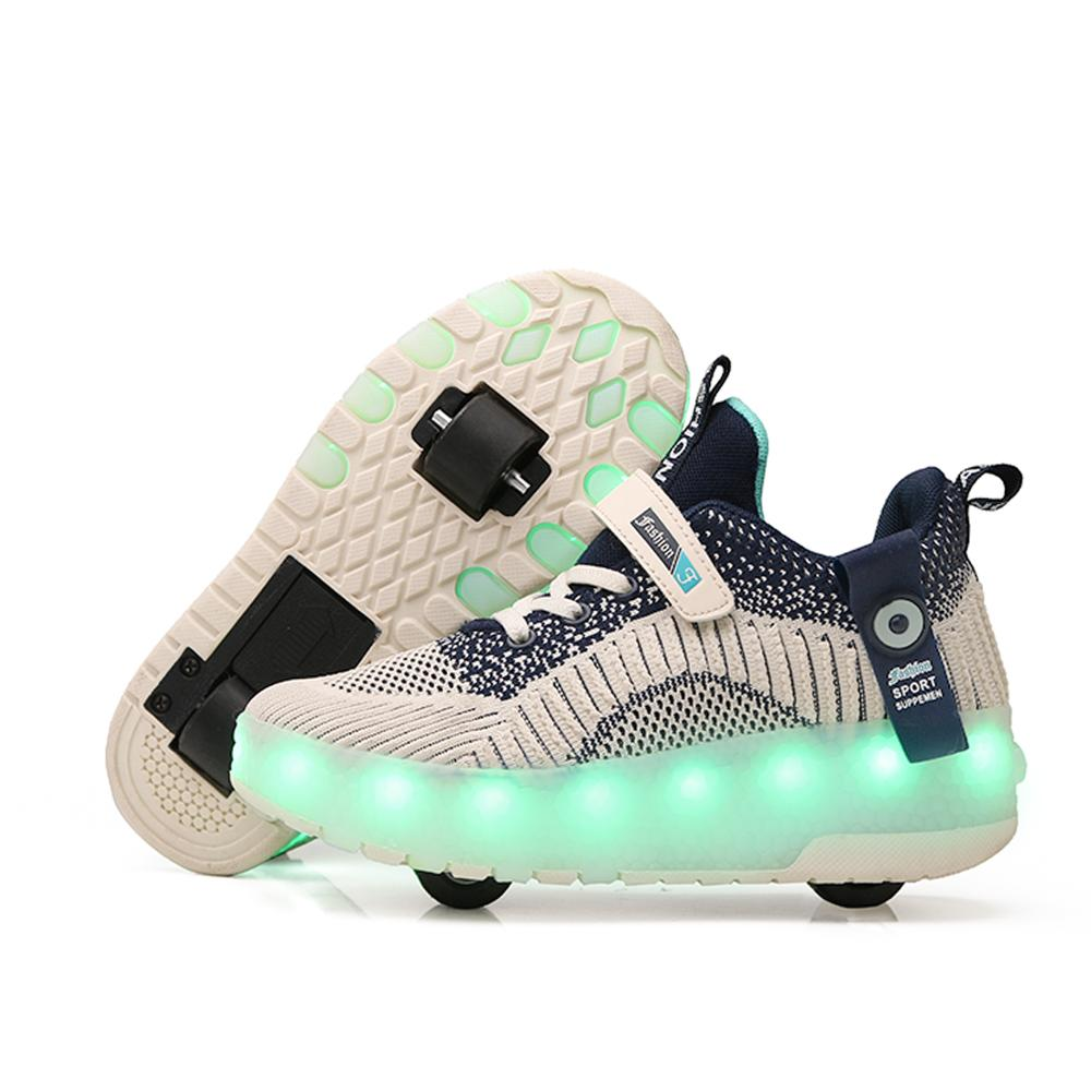 Eur28-40 Two Sneakers With Wheels USB Charging Glowing Led Light up 2020 Roller Skate Wheels Shoes for boys&girls Slippers