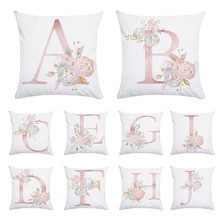 Lovely Pink Pillow Case 45x45cm Letter Pillow Cover Cushions Home Decor Letter Pillowcase(China)