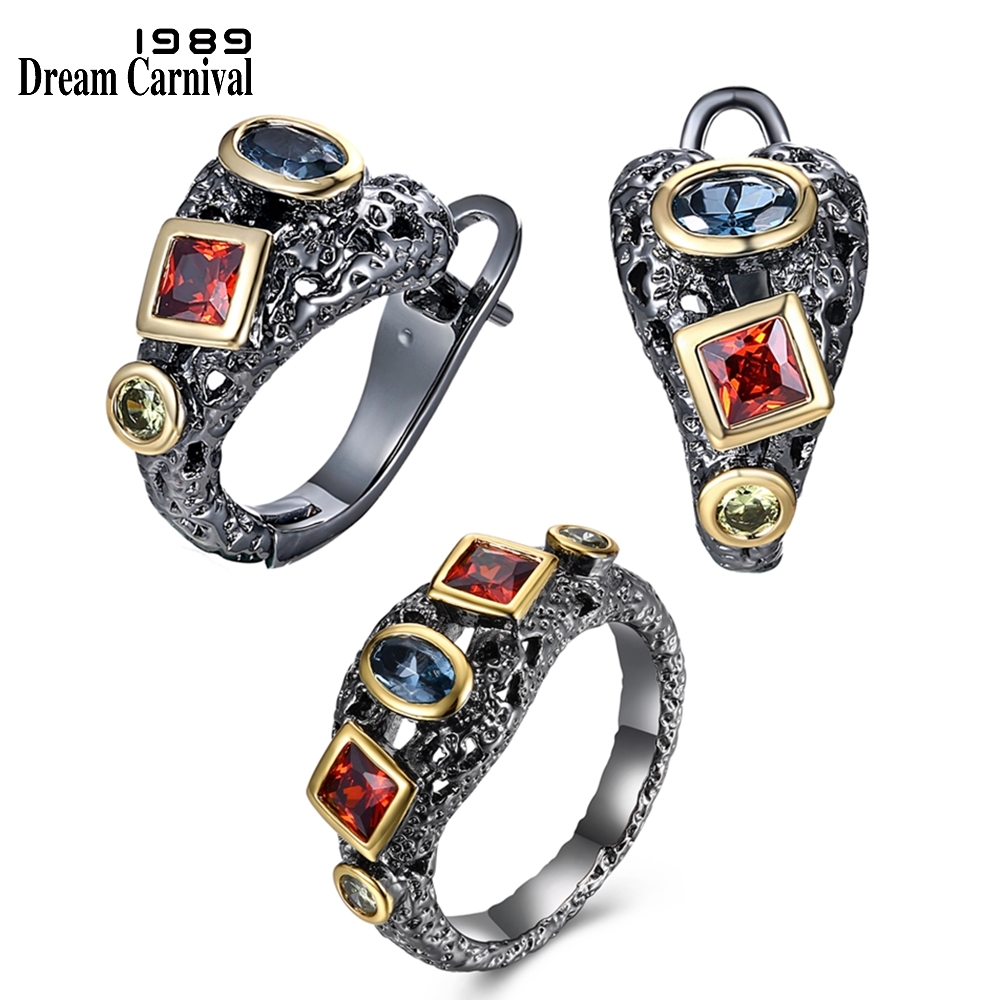 DreamCarnival 1989 Women Neo-Gothic Ring Earring Set Red Blue Olivine Cubic Zircon Party Must Have Hot Fashion Jewley ER11526S2