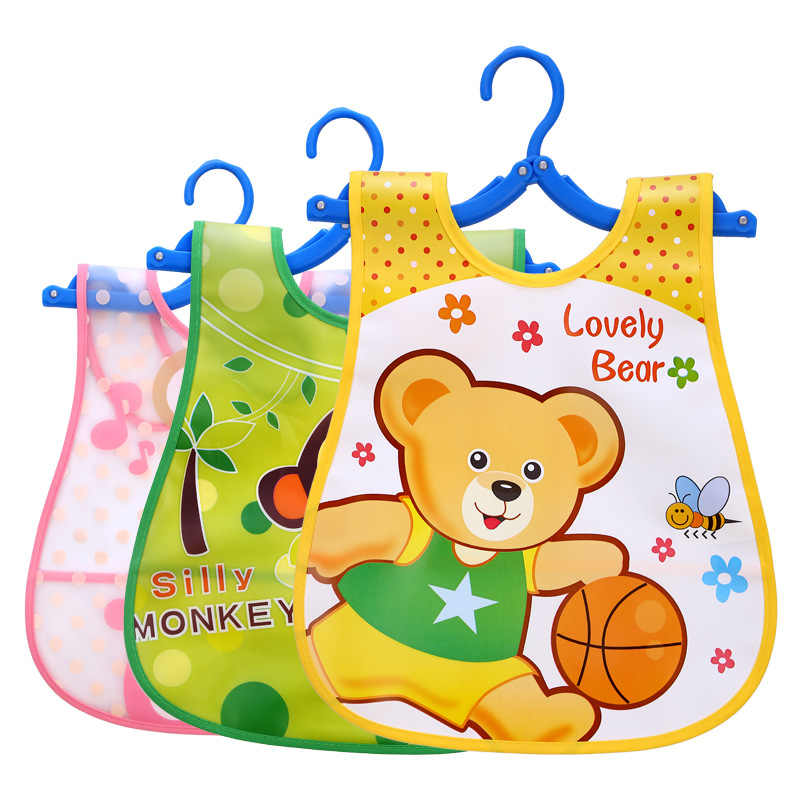 1pcs Animal Bib Adjustable Baby Bibs Plastic Waterproof Lunch Feeding Bibs Baby Cartoon Feeding Cloth Children Baby Apron De
