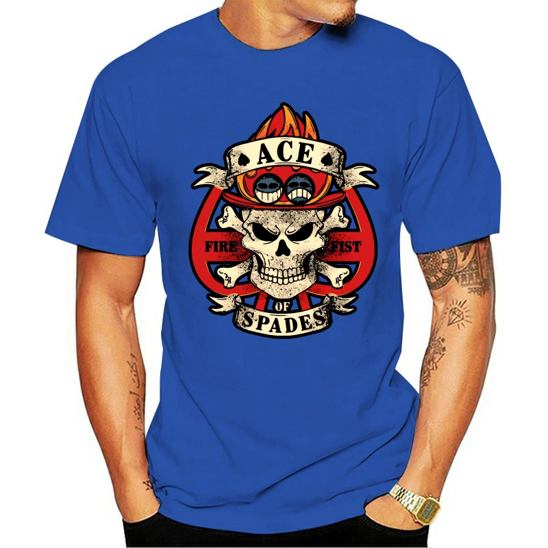 Una pieza Spade pirata Portgas D. Ace Anime Japón camiseta negro Luffy camiseta para hombre estampada de algodón de la camiseta