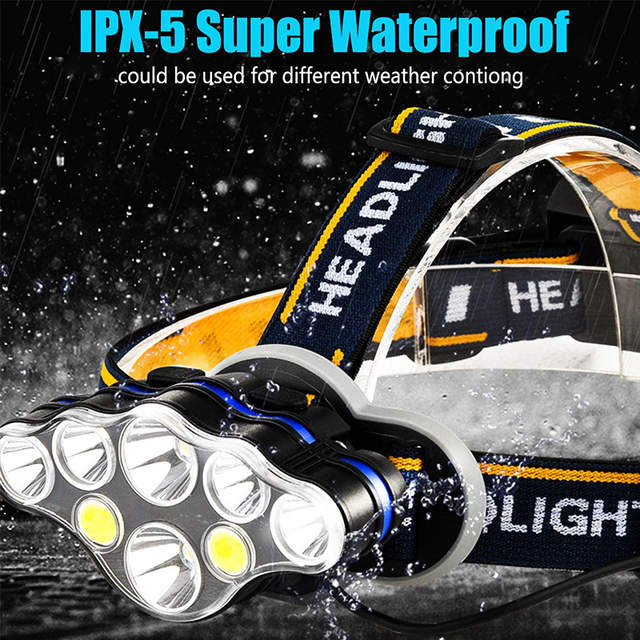 US $9.78 20% OFF|T20 LED Headlamp Rechargeable T6 COB 8 Modes Headlight Lamps 6000 Lumens Flashlight Zoomable Waterproof for Camping Fishing in